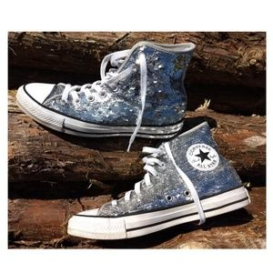Converse all star silver sequence high tops 8.5 -9